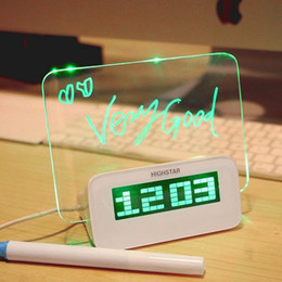 luz de noite mini toque redondo Desconto Luminous Message Board Despertador Digital Porta USB Hub Display LED Temperatura Despertador + Caneta