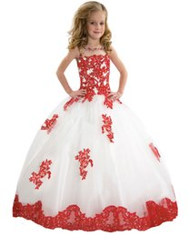 Wholesale Kids Princess Ball Gowns - 2017 hot Baby Princess Flower Girl Dress Lace Appliques Wedding Prom Ball Gowns Birthday Communion Toddler Kids TuTu Dress