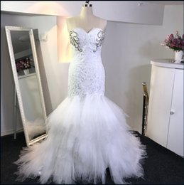 Wholesale Wedding Dress Sweetheart Mermaid Feathers - Beaded Lace Mermaid Sweetheart Wedding Dress With Court Train 2018 Feather Wedding Gowns New Bridal Gowns