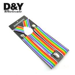 """Wholesale y back braces - Wholesale- Men's Women's Unisex Clip-on Braces Elastic Suspender 3.5cm Wide """"Rainbow"""" Striped Y-back Suspenders Braces Gallus Free Shipping"""