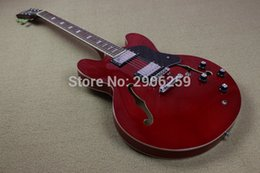 Wholesale Es Semi Hollow - New Hot Sale hollow jazz electric guitar ES 3 hollow body one piece neck red color semi hollow guitar high quality free shipping