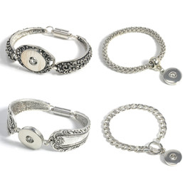 Wholesale Cheap Metal Buttons - Charm Bracelets Silver Plated Bangle For Men Women Snap Button Bracelet Ginger Snap Jewelry Cheap Cuff Bangle metal Snap Bracelet