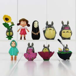 Wholesale Ponyo Movie - Spirited away 9pcs lot base Hayao Miyazaki Anime My Neighbor Totoro Ponyo figure KiKis Delivery PVC Model Toys