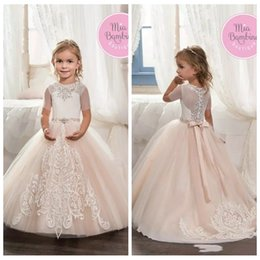 Wholesale Online Birthday Flowers - 2017 White Champagne Tulle Short Sleeve Lace Flower Girl Dresses Custom Online Kids First Communion Dresses Little Girls Pageant Gowns