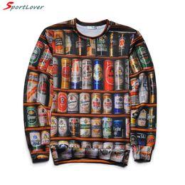 Wholesale Beer Neck - Wholesale- Sportlover 2016 New Arrive 3D Sweatshirt Men 3D Hoodies Print Beer Bottle Fashiop Hip Hop Harajuku O-neck Tops Brand Clothing