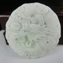 Wholesale Chinese Carving Beads - Free shipping Chinese Natural Hand-carved Lantian Jade Pendant money dragon with bead