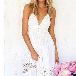Wholesale Floor Length White Sundresses - Women Summer White Lace Long Maxi Dress Backless Evening Party Dress Beach Dresses Sundress
