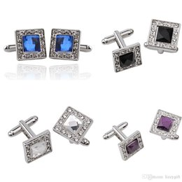 Wholesale Crystal Mens Cuff Links - wholesale Shirt Cufflinks Wedding Silver Square Business Mens bling Purple Blue Black White Crystal Cuff Links