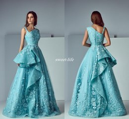 Wholesale Mint Dresses For Prom - New Arrival 2017 A-Line Mint Blue Lace Arabic Evening Dresses V-Neck Pleated Long Prom Gowns Ruffled Formal Celebrity Dress for Party Wear