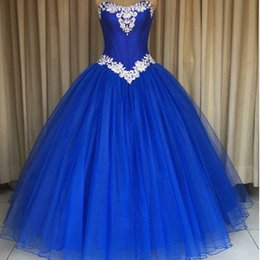 Wholesale Charming Quinceanera Dresses Ball Gown - 2017 Charming Quinceanera Dresses Royal Blue Puffy Prom Party Gowns Sweet 16 Dress Sweetheart Sleeveless Crystals Lace Appliques Custom Made