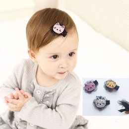 Wholesale cat hair ribbon - 12Pcs Cute Baby Small Cat Hair Clips New Design Hairpin Barrettes Boutique Kids Hair Accessories Beautiful HuiLin B53