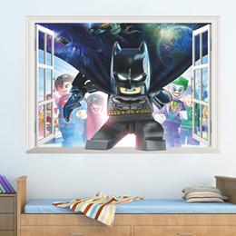 Parede do cubo 3D The Avengers Sticker Home Decor Moda Decalques em parede Criativas PVC Stickers New removível Spiderman Batman para quartos de crianças de Fornecedores de caixa do portátil