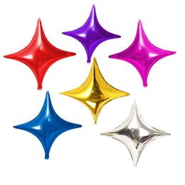 Wholesale Mix Foil Balloon - 50 Pcs 10inch Shuriken Helium Foil Balloons Holiday Birthday Party Supply Decorations Mixed Color Four Stars Balloon