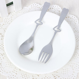 Wholesale Cheap Steel Spoons - Heart Shaped Engraved Spoons Fork Stainless Steel Silver Tone Flatware Cheap Price