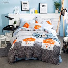 Wholesale Love Bedspreads - TUTUBIRD gray plaid with love stars bedding sets 100% cotton geometry cute kids girls boys bed linen bedclothes bedspread