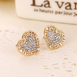 Wholesale Love Letters Earring - New Fashion Letters Print Crystal Contracted Earrings Loving Heart Alloy Stud Earrings Gold Silver Rose Gold