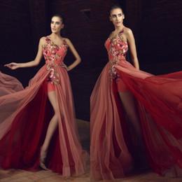 Wholesale Dresses Evening Tony - 2017 Tony Chaaya Prom Dresses Long Appliqued V-Neck Split Side Formal Dress Floor Length Beaded A-Line Tulle Evening Gown