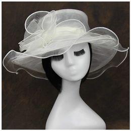 Wholesale Hot Pink Wedding Hat - Wholesale 10pcs Hot Summer Women Lady Kentucky Derby Church Bridal Wedding Organza Hat Wide Brim Dress Hat