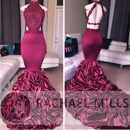 Wholesale Dress Real Picture Celebrity - Burgundy Mermaid Sexy Prom Dresses 2017 New Halter Neck Backless Sweep Train Ruffles Satin Vintage Lace Formal Evening Wear Celebrity Gowns