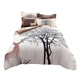 Wholesale Deer Bedding Queen - Wholesale-Papa&Mima fresh style trees deer bedlinens high quality sanding cotton fabric Queen King size duvet cover set bedding set