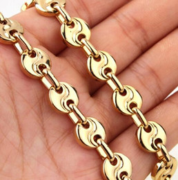 Wholesale Pure Gold Necklace Chain - XMAS Holiday Gifts Pure Stainless Steel men's women Necklace Coffee bean design Chain Link High Polished gold tone for jewelry 10mm 22 inch