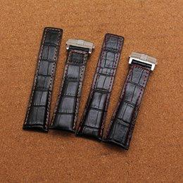 Alta Qualidade nova Pulseira Crocodilo padrão de couro genuíno vermelho costurado 20mm 22mm 24mm preto relógio acessórios pulseira pulseira de relógio banda supplier 24mm black leather watch bands de Fornecedores de faixas de relógio de couro preto de 24mm