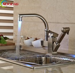 Wholesale Brushed Nickel Pull Out Faucets - Wholesale- Brushed Nickel LED Light Kitchen Mixer Faucet Deck Mounted Side-sprayer Double Spout Hot and Cold Water Taps