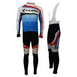 Wholesale Cube Long Jersey - 2014 Cube Long Sleeve Cycling Jersey And Bib Pants Set bike clothing 2015 Hot Sale cycling clothes Winter cycling suit ccc