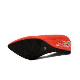 Wholesale Beautiful Wedge Heel Red - Dress Solid color nubuck leathe pointed toes fancy footwear Beautiful print wedge design 8cm women shoes