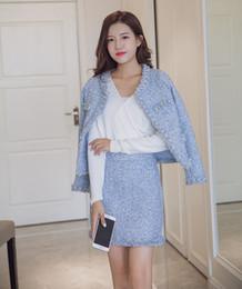 Wholesale korean fashion skirt long - New korean fashion o-neck women's lurex tassel beading luxury tweed woolen coat and bodycon short skirt twinset OL dress suit XSSMLXL