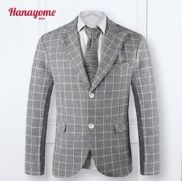 Wholesale Shawl Collar Dress Suit Men - Wholesale- 2016 Custom Slim Fit Light Grey Plaid Dress Casual Blazers Notch Lapel Groom Tuxedos Shawl Collar Men Suits Man Suit Jacket SI9