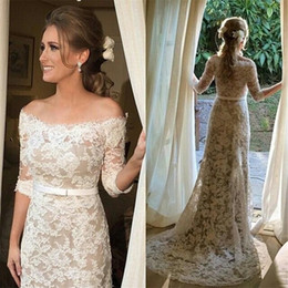 Wholesale Half Boat Models - Boat Neck Lace Wedding Gown Off-the-shoulder Mid Sleeves Champagne   Ivory Sheath Half Sleeves Wedding Dress Vestido de Noiva