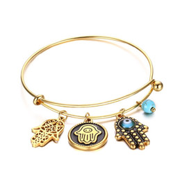 Wholesale Vintage Turquoise Gold Ring - hot sale gold adjustable expanded vintage retro Hamza Palm Turquoise diy charm stainless steel bangle bracelet