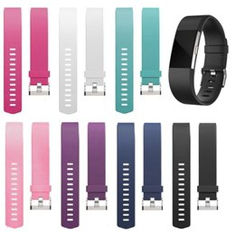 Wholesale Silicone Wristband Bracelet Buckle - Wholesale- Silicone Replacement Wristband Sports Safety Wrist Support Band Strap for FitBit Charge 2 Wrist Bracelet Metal Buckle Accessory