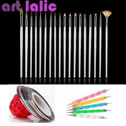 Wholesale Tapes Dots Nail - Wholesale- 30 Pcs Set Art Design Painting Tool Pen Polish Brushes Dotting Striping Tape Line Kit Styling Nail Art tools