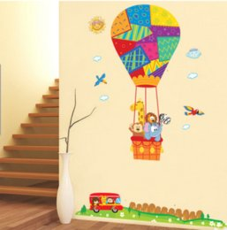 Wholesale Hot Air Balloon Nursery Decals - Hot Air Balloon Cartoon Animal Wall Stickers Nursery Kids Bedroom Removable Decals Children's Room Sticker Decor
