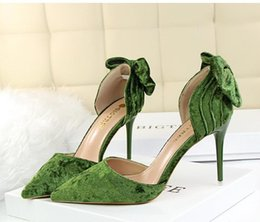 Wholesale Glamorous Days - Glamorous Sweet Bowtie Pointed Toe High Heels Women D'Orsay Shoes Multi Colors Size 34 to 39