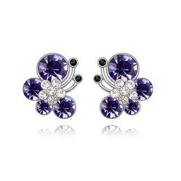 Wholesale Color Butterfly Earrings - Animal Jewelry 3 Colors White Gold Color AAA+ Crystal Zircon CZ Cute Butterfly Piercing Stud Earrings for Women Kids Girls