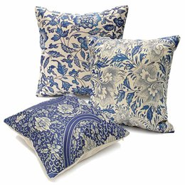 Wholesale Oriental Cover - Wholesale- Cotton Linen Pillow Case Blue And White Porcelain Cover Vintage Oriental Blue Floral Home Chinese Pattern Pillow