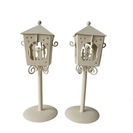 Wholesale Bar Decorations Cheap - Free shipping Cheap D9*H23CM Metal candle holder Small Iron classic lantern White Black Color Valentine gift