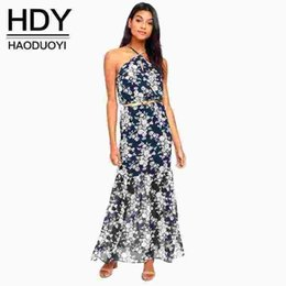 Wholesale Sweet Lady Maxi - New Fashion Maxi Dress Women Sleeveless Off Shoulder Female Strap Dress Sweet Style Ladies Floral Print Dress 17408