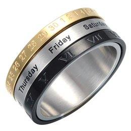 Wholesale 3in1 Ring - HIP HOP Gold Black Rotatable Week Calendar Date Ring 3In1 Titanium Stainless Steel Rings for Men JewelryDropping Shipping