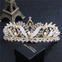 Wholesale Exquisite Rhinestone Bridal Gown - Exquisite Crystal Rhinestone Wedding Crowns Headpieces 2018 Gold and Silver Color Wholesale Women Headbands Hair Accessories Bridal Gowns