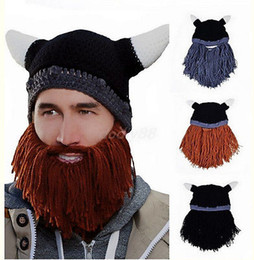 Wholesale Women Gagged Mask - Vikings Beanies Beard Horn Hats Handmade Knitted Winter Warm Caps Men's Women Birthday Cool Gifts Funny Cool Gag Party Xmas Mask DDB015