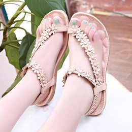 Wholesale National Wind Shoes - 2017 New Style Bohemia fashion sandals women's shoes summer style national style wind flowers flat sandals for women