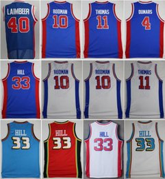 Wholesale Hot Sale Isiah Thomas Jersey Men Bill Laimbeer Dennis Rodman Basketball Jerseys Joe Dumars Grant Hill Throwback Blue White