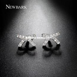 Wholesale Earrings Bowknot - dhgate Korean Style Cute Bowknot Stud Earrings AAA Cubic Zirconia Silver Color Earring Jewelry Best Friends Gifts