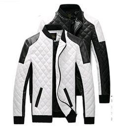 2017 nuovi uomini giacche in pelle cappotti nero bianco uomo in pelle Jaquetas giacche cappotto invernale in pelle scamosciata basic giacca da