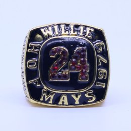 Wholesale Collection Tins - Willie Mays H.O.F 1979 baseball championship ring replica solid ring for fans collection drop shipping