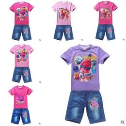 Wholesale Wholesale Jeans For Children - Summer Girls Clothing Set Trolls T-shirt +Jeans Shorts For Baby Girls Poppy Costume Cotton Tees Children Tops For Kids